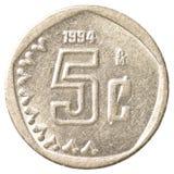 5 meksykańskiego peso centów moneta Fotografia Royalty Free
