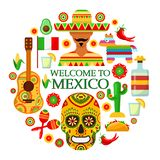 Meksykanów atrybuty na białym tle ilustracja wektor