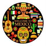 Meksykanów atrybuty na czarnym tle royalty ilustracja