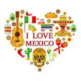Meksykanów atrybuty w kształcie serce royalty ilustracja
