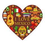 Meksykanów atrybuty w kształcie serce ilustracja wektor