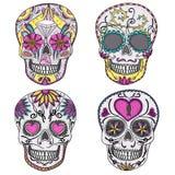 Meksykanina cukrowy czaszki set royalty ilustracja