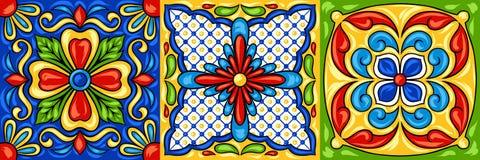 Meksykanina Talavera ceramicznej płytki wzór ilustracja wektor