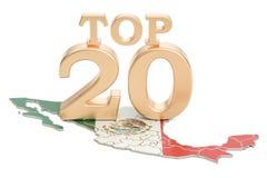 Meksykanina wierzchołka 20 pojęcie, 3D rendering Zdjęcia Stock