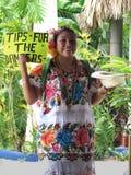 Meksykańskiej dziewczyny Zbieracki pieniądze dla tancerzy Fotografia Royalty Free