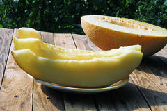 Melão amarelo maduro Imagens de Stock Royalty Free