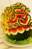 Melão de água com formas do coração Imagem de Stock Royalty Free
