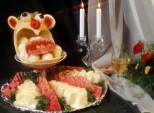 Melão e água-mim (estilo do alimento) Fotografia de Stock Royalty Free
