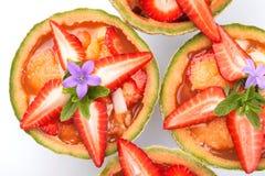 Melón de las fresas de la ensalada de fruta Fotos de archivo libres de regalías