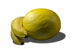 Melón y plátanos amarillos jugosos deliciosos imágenes de archivo libres de regalías