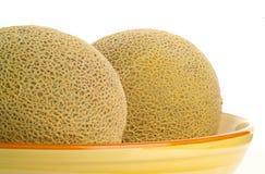 Melões do Cantaloupe em uma bacia Foto de Stock Royalty Free
