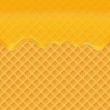 Mel do gotejamento em um fundo do waffle Respingo do mel, syrip doce Ilustração do vetor ilustração royalty free