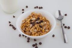 Mel dos pedaços de chocolate do leite do cereal da aveia das amêndoas Imagens de Stock Royalty Free