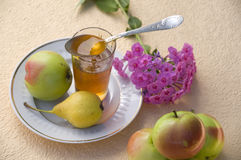 Mel e maçãs Fotografia de Stock Royalty Free