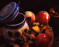 Mel e maçãs Imagens de Stock