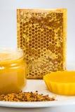 Mel, favo de mel e pólen em uma placa em um fundo branco Imagens de Stock Royalty Free