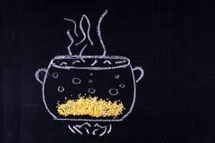 Mel gezeichnete Wanne, in der Getreide kochte stockbilder