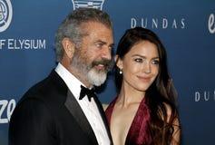 Mel Gibson and Rosalind Ross stock photos