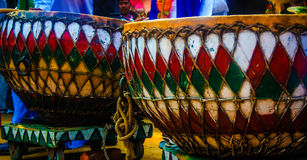 Mela del mestiere di Surajkund, dholl, strumento musicale fotografia stock