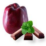 Mela deliziosa rigida con la menta ed il cioccolato fondente Immagini Stock