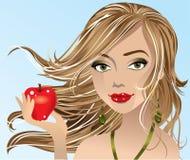 Mela della holding della ragazza del Brunette illustrazione di stock