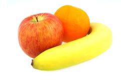 Mela ed arancio della banana Fotografie Stock
