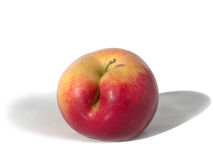 mela Giallo-rossa con un difetto immagini stock