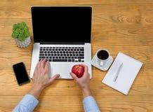Mela maschio della tenuta della mano mentre per mezzo del computer portatile Immagine Stock