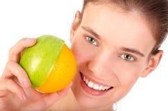Mela mezza - a metà arancio Fotografia Stock