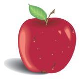 Mela rossa con il foglio verde Immagine Stock Libera da Diritti