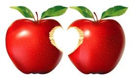 Mela rossa con il morso del cuore royalty illustrazione gratis