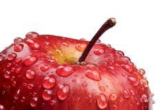 Mela rossa con le gocce dell'acqua Fotografie Stock