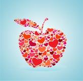 Mela rossa del cuore Immagini Stock Libere da Diritti