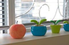 Mela rossa e giocattolo solare del vaso di fiore Fotografia Stock Libera da Diritti