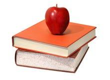 Mela rossa e manuali educativi di scienza Fotografia Stock Libera da Diritti