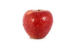 Mela rossa fresca matura con le gocce dell'acqua Fotografia Stock