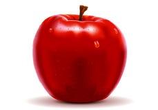 Mela rossa isolata su bianco Immagini Stock Libere da Diritti