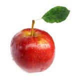 Mela rossa perfetta con il foglio Fotografia Stock Libera da Diritti