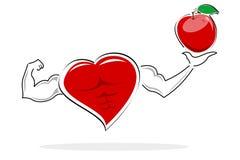 Mela sana della holding del cuore Fotografia Stock Libera da Diritti