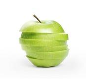 Mela verde affettata immagini stock