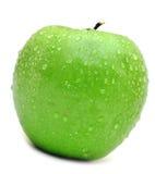 Mela verde bagnata Fotografia Stock Libera da Diritti