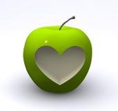 Mela verde con amore Fotografia Stock