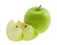 Mela verde con i segmenti. Fotografia Stock Libera da Diritti