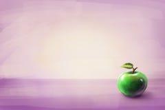 Mela verde con il foglio Fondo fotografia stock