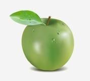 Mela verde con le gocce di acqua - illustrazione di vettore della maglia di pendenza Immagine Stock Libera da Diritti