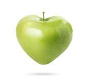 Mela verde del cuore Fotografia Stock