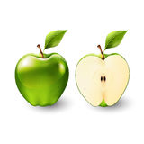 Mela verde e una metà della mela, frutta, trasparente, vettore Immagini Stock
