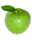 Mela verde fresca e bagnata Fotografia Stock Libera da Diritti