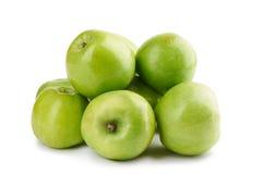 Mela verde isolata sopra fondo bianco Fotografia Stock