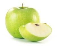 Mela verde isolata su bianco Immagini Stock Libere da Diritti
